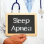 doctor with sleep apnea chalkboard-