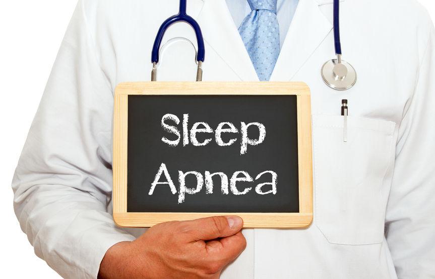 doctor with sleep apnea chalkboard-